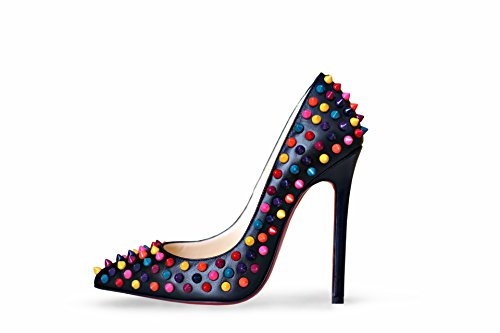 best service 2cfc4 8363c Christian Louboutin Pigalle Spikes 120 Black Leather Multicolor Studded  Pumps Heels Shoes